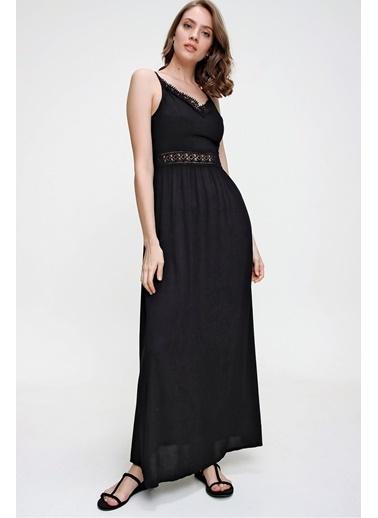 Butikburuç Kadın Siyah V Yaka Dantel İşleme Elbise Siyah